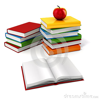 Free 3d Books And Apple Royalty Free Stock Images - 59711489
