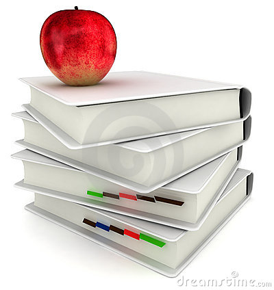 3d Books With Red  Apple Back To School Royalty Free Stock Photos - Image: 20661268