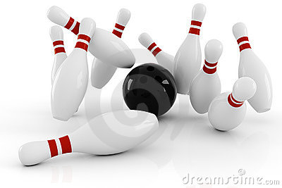 3d bowling, strike isolated on white