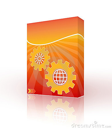 3D box with orange designs