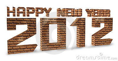 3D brick render Happy new year 2012 on a white.