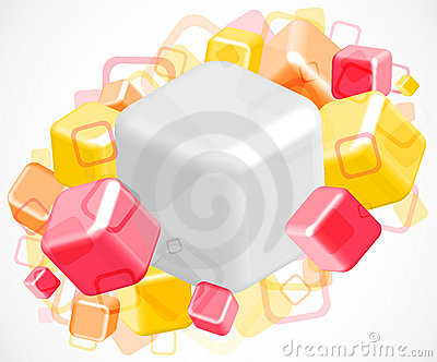 3d bright abstract background with cubes