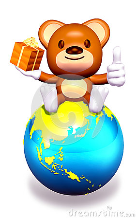 3d brown bear sitting on globe