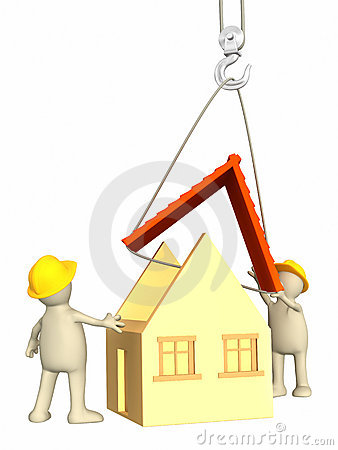 3d builders, lowering a roof on a hook