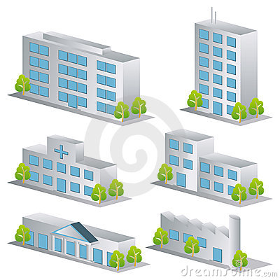 Free 3d Building Icons Set Royalty Free Stock Images - 15454309