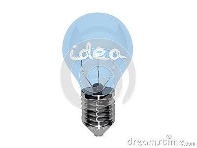 3d bulb showing an idea word