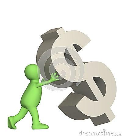 3d burattino, simbolo di caduta supportante del dollaro