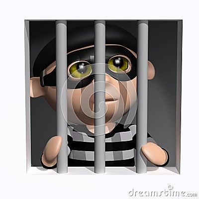 Free 3d Burglar Behind Bars Stock Image - 39714121
