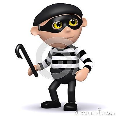 Free 3d Burglar Has A Crowbar Royalty Free Stock Photo - 38734645