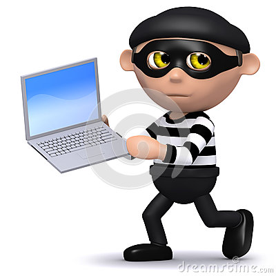 Free 3d Burglar Runs Off With A Laptop Stock Photos - 38734943