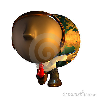 3d business man character carrying world