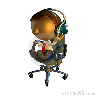 3d business man character in chair with headphones