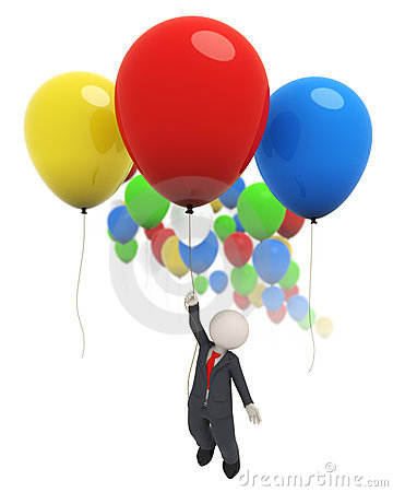 3d business man flying with colorful balloons