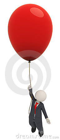 3d business man flying with one red balloon
