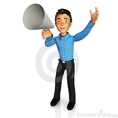 3D business man with megaphone