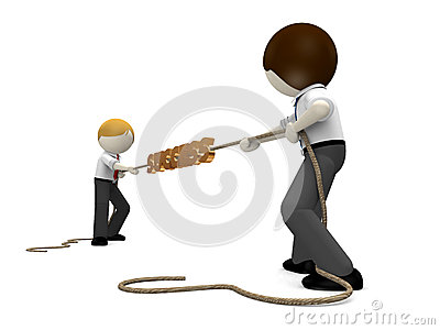 3d business man playing tug of war
