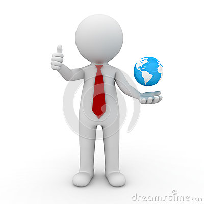 Free 3d Business Man Showing Thumbs Up With Globe In His Hand Royalty Free Stock Photography - 28738307
