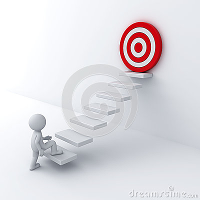 Free 3d Business Man Stepping Up To His Successful Goal On Top Of The Steps Stock Photography - 44000912