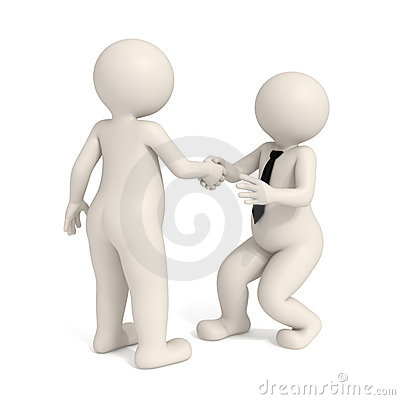 3d business men - Intimidating handshake