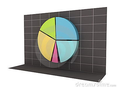 3D Business Pie Chart with Clipping Path