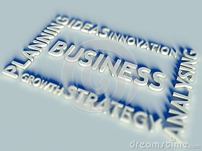 3d Business text table and keywords