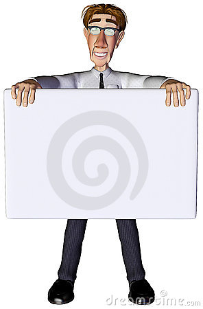 3d businessman advert white 3