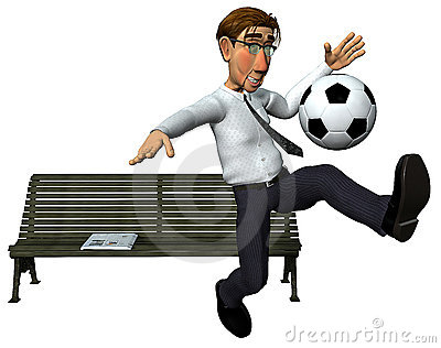 3d businessman and also footballer playing