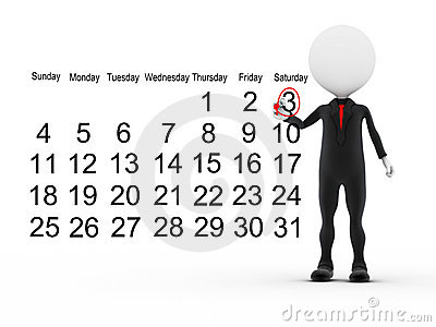 3d businessman with busy calendar