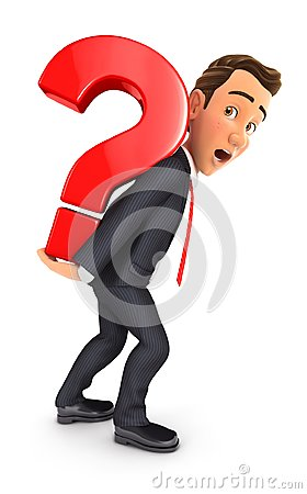 Free 3d Businessman Carrying Heavy Question Mark Stock Photography - 108108762
