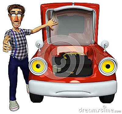 3d businessman courier fixing the car