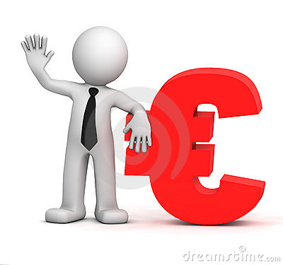 3d businessman with euro currency symbol