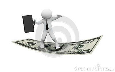 3d businessman flying on dollar