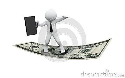 3d businessman flying on dollar