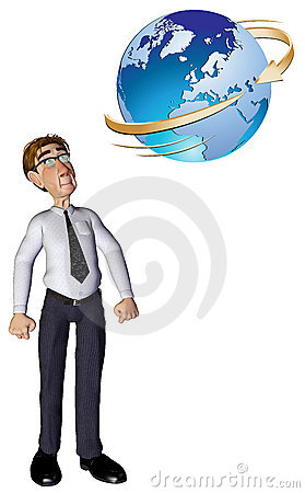 3d businessman global