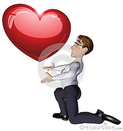 3d businessman heart
