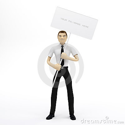 3D Businessman holding a blank sign