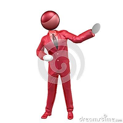 3d businessman icon on presentation pose
