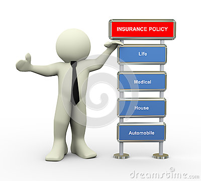 3d businessman and insurance policy