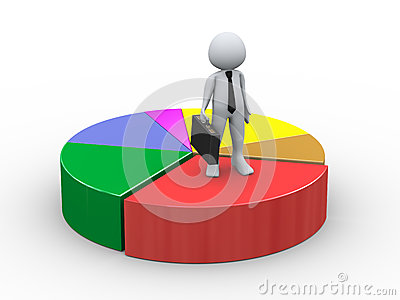 3d businessman on pie chart
