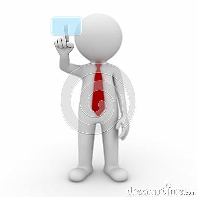 3d businessman pushing a touch screen button