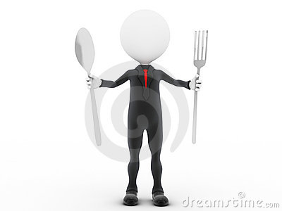 3d businessman ready to eat.