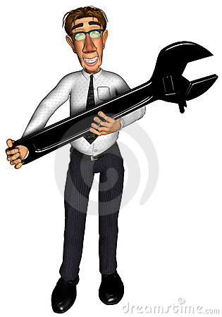 3d businessman spanner cartoon 2