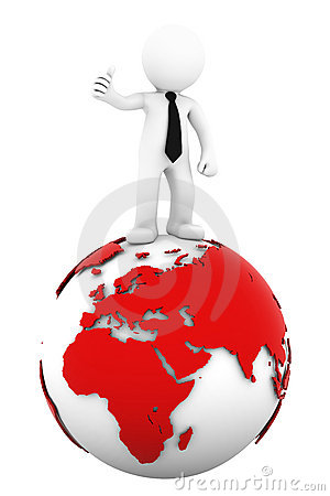 3d Businessman standing on earth globe