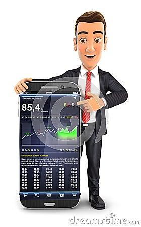 Free 3d Businessman Statistics Smartphone Royalty Free Stock Photo - 60622355
