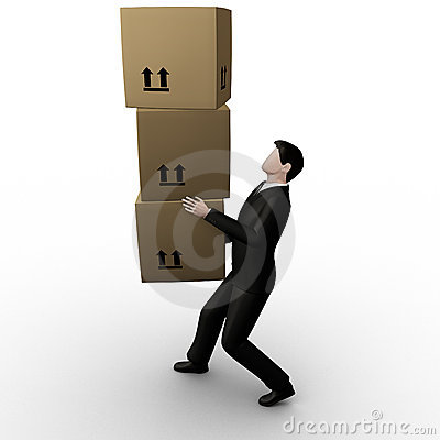3d businessman transfer packed cardboard boxes