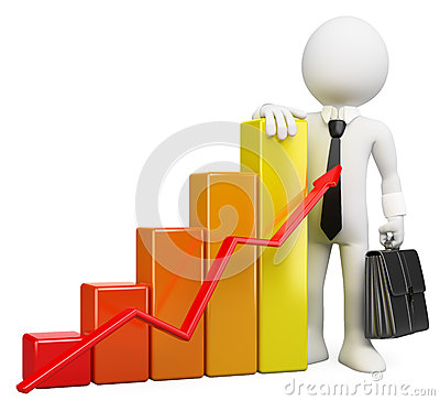 3D businessman white people. Bar graph
