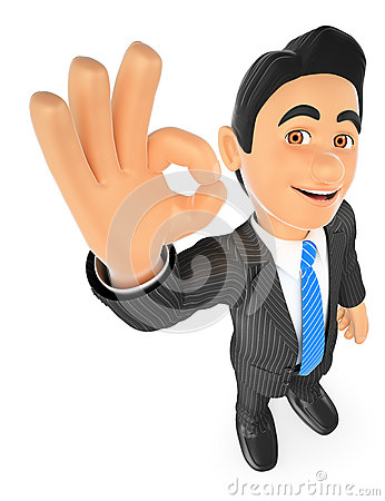 Free 3D Businessman With Ok Sign In Hand Royalty Free Stock Image - 69611856