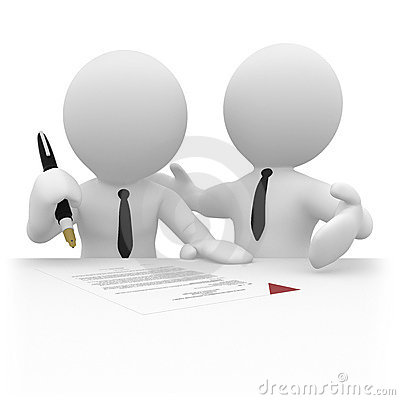 3D businessperson signing a contract