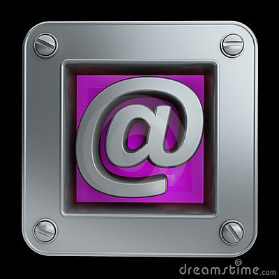 3D button icon with mail