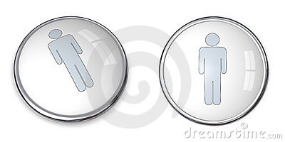 3D Button Male Pictogram